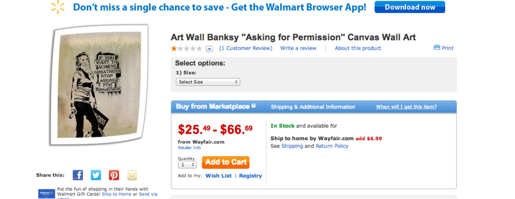 Walmart sells fake Eddie Colla prints by Banksy? – The