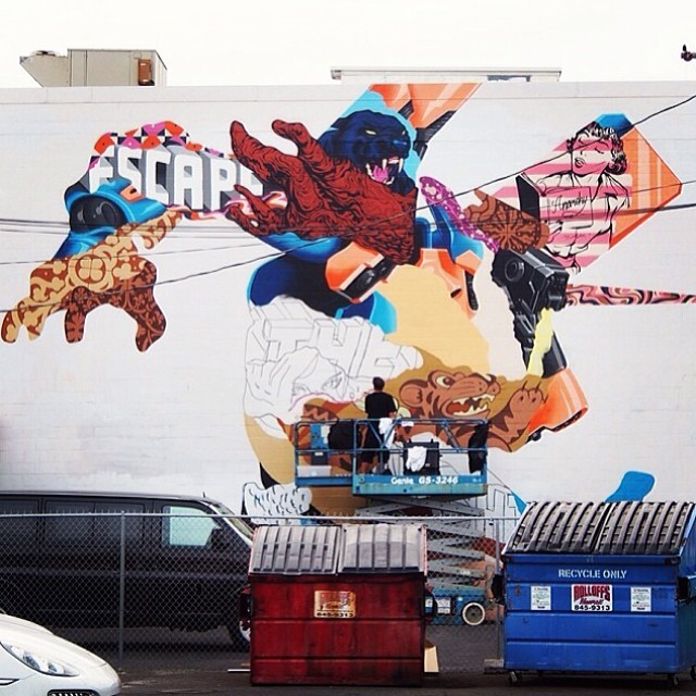 Day 4: New mural in progress by @tristaneaton for #powwowhawaii. Photo by @vnamagazine. @rvca @montanacans @flexfit @hawaiianairlines