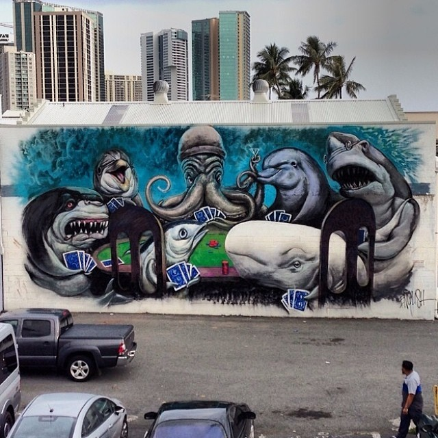 Day 4: New mural by @ronenglishart for #powwowhawaii. Photo by @marthacoopergram. @rvca @montanacans @flexfit @hawaiianairlines