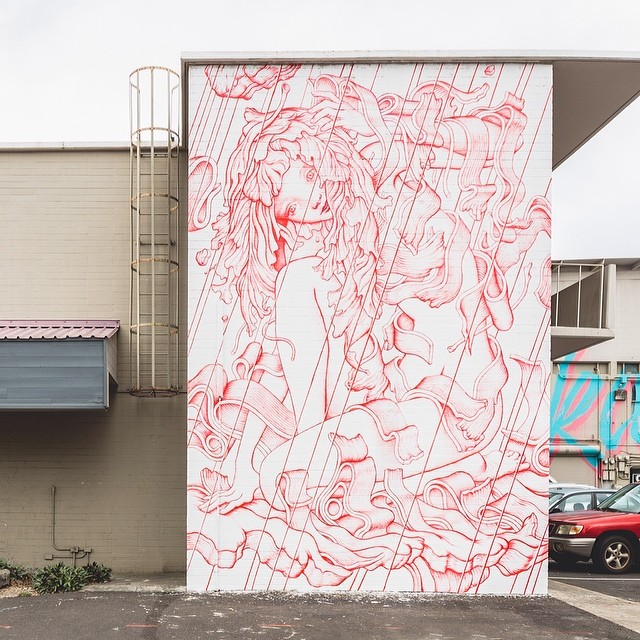 New mural by @jamesjeanart for #powwowhawaii. @rvca @montanacans @flexfit @hawaiianairlines